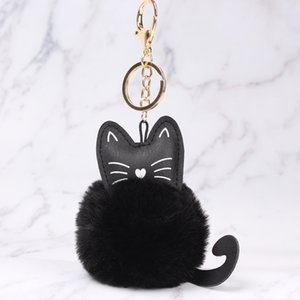Women Fluffy Cat Mini Key chain Faux Rabbit Fur Ball Bag Key Ring Fashion Jewelry Plush Keychain Handbag Accessories