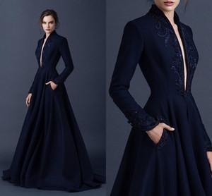 Bleu marine de soirée en satin des robes de broderie Paolo Sebastian Robes Custom Made perlé Party Tenue de soirée robe de bal décolleté en V cou boule Robes