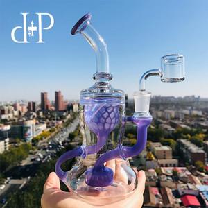 Plus Glass Bong Water Pipe 009L Сотовый Recycler уникальный лавандовый цвет опьяняющая труба с перколятором 7,5 Высота 14 мм Женский