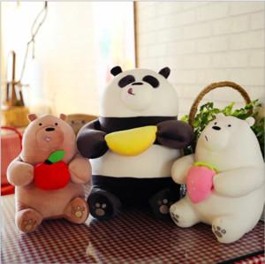 New we bare bear plush toy cut cartoon three bare bears with fruits Filled animal Polar bear figurine for children