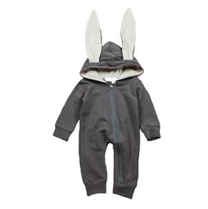 Cute Rabbit Orecchio Con Cappuccio Pagliaccetti Per Bambini Ragazzi Ragazze Vestiti Vestiti Neonati Tuta Infantile Costume Baby Outfit