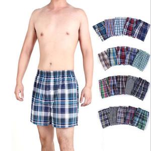 Boxers Mens Cotton roupa íntima masculina listrada Plaid Clássico 200pcs / Lot Trunks Woven Homme Seta Calcinhas Boxer Plus Size M-3XL