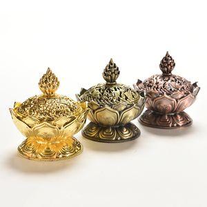 Yeni Tibet Lotus Tütsü Brülör Alaşım Bronz Mini Tütsü Brülör Tensens Metal Zanaat Ev Dekor 7.8 * 7.2 * 6.0 cm