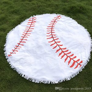 Tassels Baseball Round Beach Towel Blanket Microfiber Large Circle Bath Towel Water Absorb Quick Dry Serviette De Plage c490