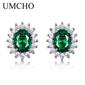 UMCHO Prenses Damızlık Küpe Oluşturulan Zümrüt Taş 925 Ayar Gümüş Nişan Düğün Küpe Kadınlar Güzel Takı Için