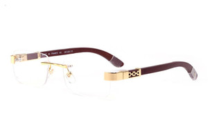 2016 yeni Güneş Men çerçevesiz gözlükler altın Ahşap Ayaklar Metal Çerçeve kahverengi Buffalo Horn lunettes de soleil de Marque