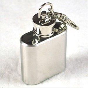 Mini-Flachmann aus Edelstahl 1oz mit keychain Weinflasche im Freien mit Schlüsselketten Freies Verschiffen