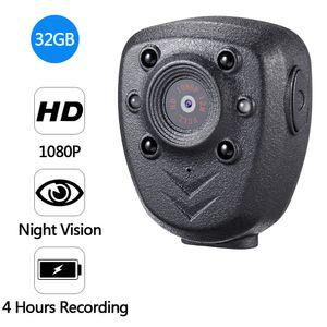 HD 1080P شرطة الجسم طية صدر السترة البالية كاميرا فيديو DVR الأشعة تحت الحمراء للرؤية الليلية الصمام ضوء الكاميرا 4 ساعات سجل الرقمية البسيطة DV مسجل صوت 16G حر Shippin