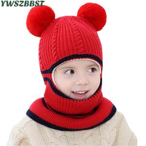 Kalın Sonbahar Kış Çocuk Şapka Pom Pom Topu Şapka Çocuk Beanies Kap Kız Erkek Sıcak Yün Kapşonlu Şapka Bebek Eşarplar Toddler D18110601 Caps