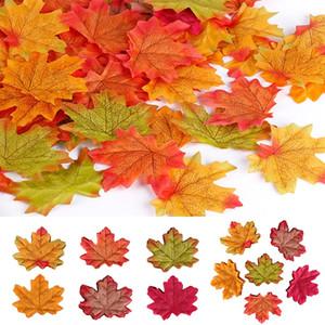 Ev Düğün Olaylar Dekor için Bedava Kargo 100pcs Lot Yeni Yapay Maple Leaves Simülasyon Dekoratif Maple Leaves Sahte Güz Yaprakları