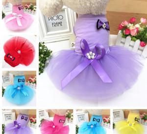 Vêtements d'été pour animaux de compagnie bow Dress Dog Dress pour petit chien princesse jupe de mariage Vêtements de luxe pour chien soft Lace