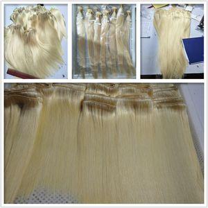 Elibess Marke Blonde Farbe 613 # Silk gerade Wellen-Menschenhaar Bundles 6Pcs Lot peruanische Jungfrau-Menschenhaar Weaves Fast Delivery Extensions