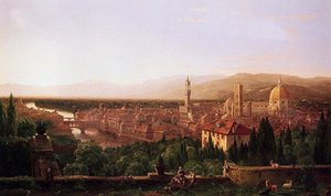 Thomas cole - Cityscape View of Florence from San Miniato HD Print Wall Decor Art Oil Painting On Canvas.Multi sizes  Frame Option l107