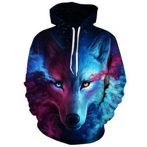 2018 Newest Autumn Winter Unisex Hoodie Sweatshirt 3D Digital Print Casual Sports Coat Athletic Hooded Sweaters with Pockets