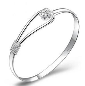 Charm Armreif Rose Armbänder 925 Sterling Silber Rose Blume Manschette Armband Mode Armreif für Frauen Schmuck