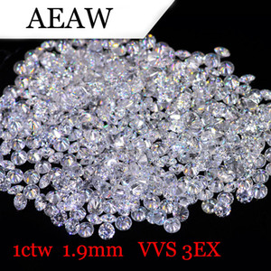 AEAW 1.9mm Certificado Laboratorio Total 1 CTW quilates DF color Grown joyería de Moissanite Diamante flojo del grano fino de prueba positiva