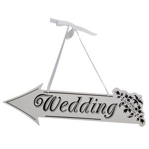 Segno di freccia Cerimonia di nozze Reception Decor Freccia a forma di decorazione di nozze Segno di nozze Direzione di matrimonio in legno bianco