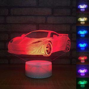 ليلة سيارة مصباح 3D LED الاكريليك ليلة الخفيفة التي تعمل باللمس 7 لون تغيير الجدول مكتب مصباح حزب ضوء الزخرفية