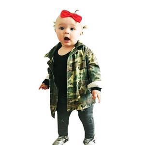 Bebek Erkek Kız Kamuflaj Mektup Denim Ceket Yeni 2018 Moda Bahar Sonbahar Çocuk Dış Giyim Coat Çocuk Denim Ceket Kalın Giysileri