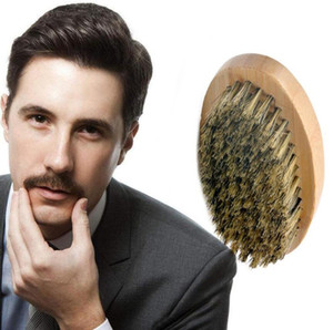 New Boar Hair Bristle Beard Mustache Brush Military Hard Round Wood Handle Anti-static Peach Comb Hairdressing Tool for Men Hot gift