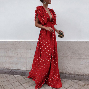 Dot Imprimé Pleat Cap manches longues femmes Party robes de soirée 2019 New Sexy col en V profond Une ligne Longueur étage Femmes Mode vestimentaire décontracté