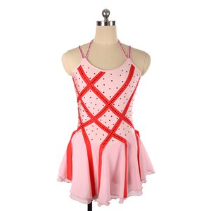 2018 Special Design Neckline Pink Girls Beaded Performance Dress Latest Collection Sleeveless Ice Dress Free Shipping