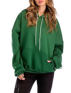 MISSKY manera de las mujeres suéter flojo Tops Casual palo de la manga con capucha Espesar con bolsillos