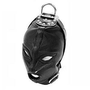 Giocattoli del sesso Maschera per il cappuccio BDSM Bondage Restraints Cuoio Maschera per gli occhi Slave Bocca aperta e cappuccio per gli occhi Giocattoli per adulti Head Gear Prodotti