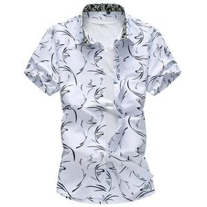 Estate più il formato della camicia degli uomini 6XL 7XL vestiti all'ingrosso di marca degli uomini Casual Male Stampa Camicia a maniche corte Camicia Hawaii
