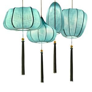 China Linterna de tela Colgante de Luz Azul Tela Retro Creativo Creativo Lámparas Colgantes Hot Pot Restaurante Sala de estar Iluminación del Hogar