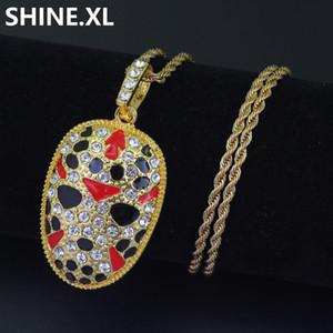 Collana pendente Hip Hop Opera maschera pechino Iced Out Full strass oro argento colore placcato Vieni con catena di corda