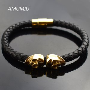 AMUMIU  Black Genuine Leather Double Skeleton Skull Charm Bracelet For Men Gift Magnet Punk Rock Jewelry HB091