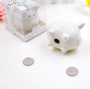 DHL керамического Mini Piggy Bank в подарочной коробке с горошком Лук Coin Box для Baby Shower партии сувениры крестины Подарки пу