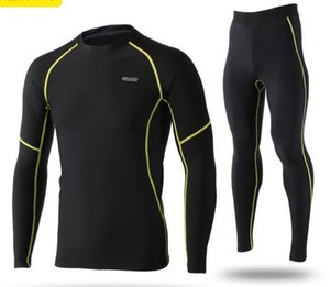 Arsuxeo Winter Men's Thermal Fleece Base Layers Shirts Running Sets Jersey Sports Suits Cycling Underwear Training Clothing