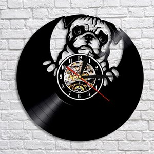 1Piece Lovely Pug Dog Silhouette  Record LED Wall Clock Modern Design Animal Puppy Clock Creative Nursery Wall Art Decor