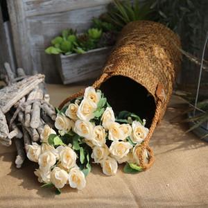 ارتفعت 6PCS / الكثير مصنع الجملة زهرة اصطناعية ارتفع الفارسي باقة الزهور عقد نجم رئيس زهرة زهرة المنزل تزيين الجدران