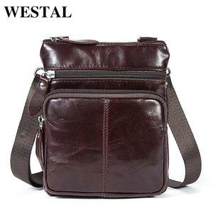 Westal Petit Messenger Sacs Hommes Femmes Sac Véritable Sac bandoulière en cuir à bandoulière Mode Flap Casual Zipper 701