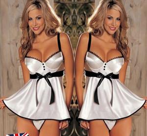 Abito da notte bianco da notte da donna sexy lingerie da notte con reggiseno babydoll # R87