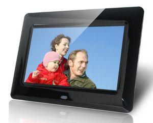 Venta caliente Nueva moda 7 pulgadas vertical de alta definición HD LCD marco de fotos digital con reloj despertador MP3 / 4 jugador negro Dec16 LLFA