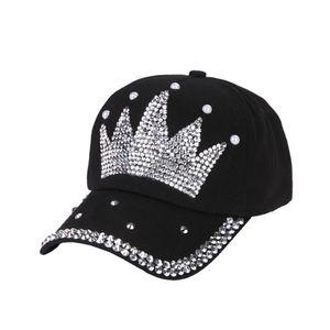 Women new fashion baseball cap hats handmade rhinestone beads Hat Pearl Crown Female Baseball Cap Snapback Sports Sun Hat