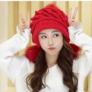 Pompon D'hiver Chapeaux De Fourrure Pour Femmes Dames Protection D'oreille Tricoté Bonnet Bonnet Épais Chaud Ski Bonnet Chapeau