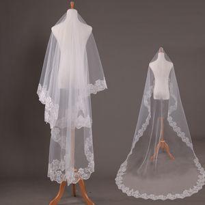 JaneVini 2018 Lace Edge Long Veil Wedding Champagne Una capa Velos nupciales 3 5 metros White Cathedral Velo de la boda Cheap Voile De Marie