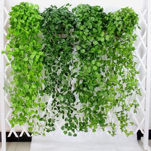10pcs feuilles artificielles Fleurs vert Faux Hanging Feuilles de vigne feuillage des plantes Kegon jardin Tenture Décoration AVL01-04