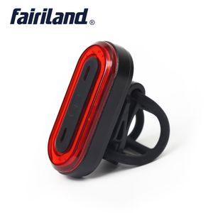 Luz trasera Fairiland Bike COB Alto brillo Cuentas de LED de 50 lúmenes Luz de advertencia de seguridad del marco de aleación de aluminio recargable USB