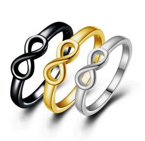 3 цвета новый стерлингового серебра Бесконечности кольцо знак очарование группа кольцо для женщин Бесконечности любовь кольца пара кольца любителей кольцо ювелирные изделия подарок