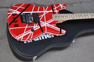 En Satış Özel Edward Van Halen KRAMER 5150 Siyah Beyaz Şerit Kırmızı Elektro Gitar Floyd Gül Tremolo Tailpiece, Akçaağaç Boyun Klavye