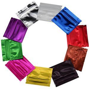 200pcs / lot 작은 다채로운 Resealable 광택 알루미늄 호 일 우편 잠금 포장 가방 커피 가루 사탕 Packag 지퍼 Mylar 가방 지퍼와 함께 가기