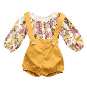 Il nuovo arrivo di autunno della molla delle neonate di modo stampa floreale del pagliaccetto + Suspender Pants 2 pezzi set Abbigliamento per bambini