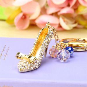 Fashion New Rhinestone high-heeled shoes Keychains Male Various Car Model Key Ring Car Hobbies Jewelry Crystal keychain