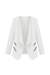 2017 NEW Vintage Women Basic Slim Suit Foldable Blazer Slim Fit Jacket Cardigan Outwear White